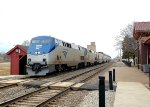 The east bound California Zephyr is passing through Plano, IL